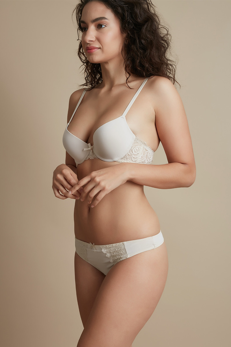1a501ad763 Buy Gentle Lift Clean Finish Underwired Demi Bra with Thong Panty- Beige