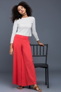 Zivame Around the Flares Flared Fit Fold Over Waist Pants-Red By Zivame @ Rs.1,195