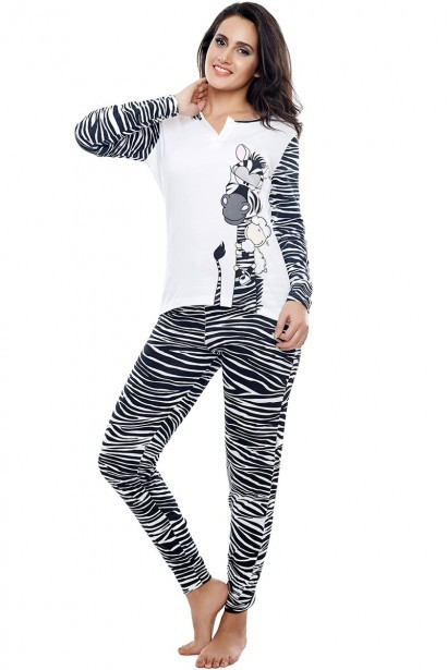 Coucou Cotton Wild Safari Zzzebra Full Sleeve Top and Pyjama Set