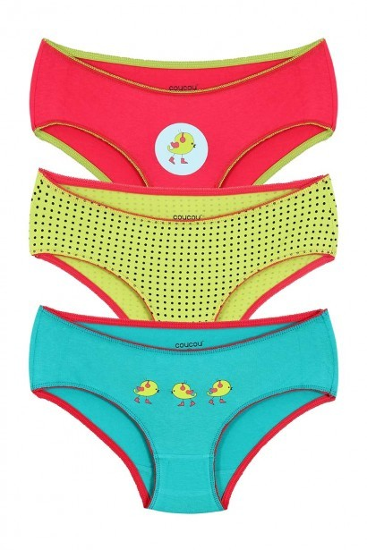 Coucou Stretch Cotton Groovy Bird Bikini Brief (Pack of 3)