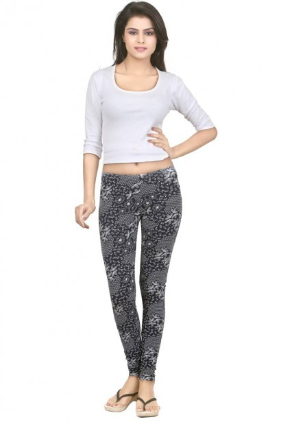 Sweet Dreams Abstract Flower Print Cotton Ankle Length Leggings