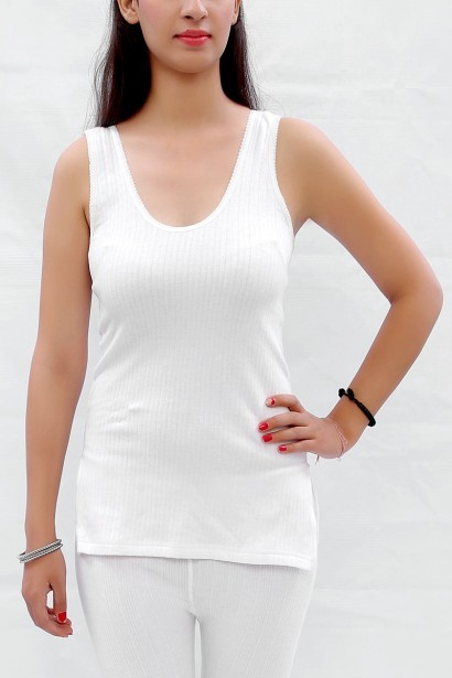 Neva Neva Neva Sleeveless Modal Thermal Off-White Tank Top (Multicolor)