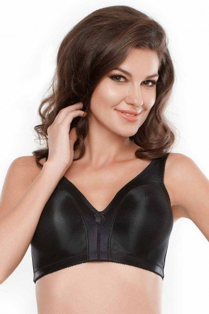 Penny No Sag Full Coverage Bra With Non Stretch Cup - Black