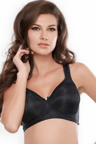 Penny No Sag Full Cup Bra With Non Stretch Jacquard - Black