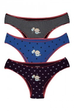 Coucou Stretch Cotton Happy Baby Bikini Brief (Pack of 3)