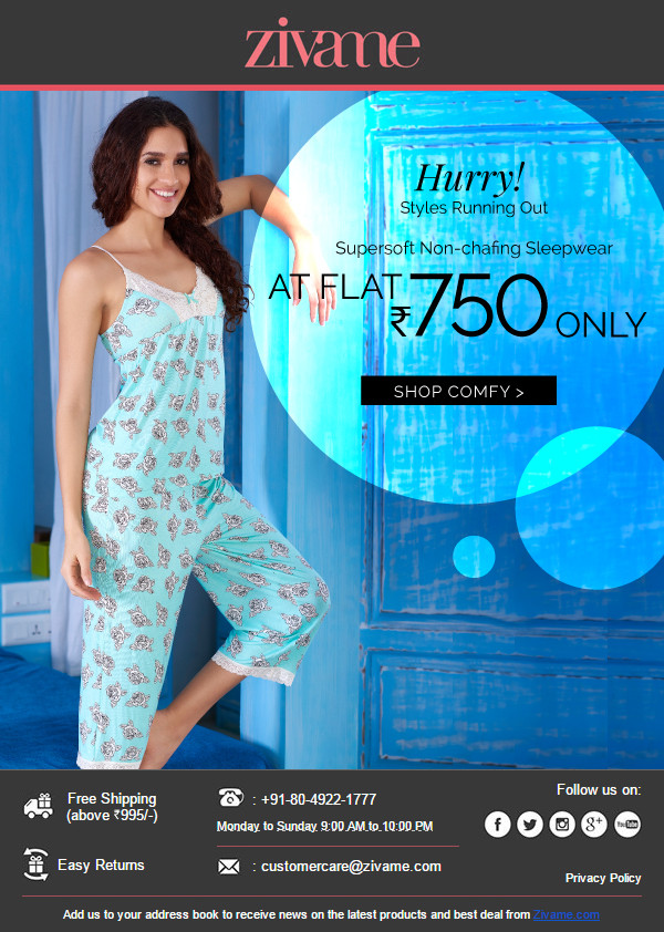Zivame: Sleepwear @ Flat Rs.750 Only
