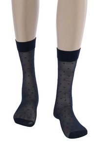 Zivame Dot Patterned Sheer Knee Length Socks Blue