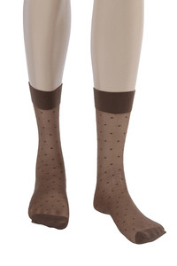 Zivame Dot Patterned Sheer Knee Length Socks Brown