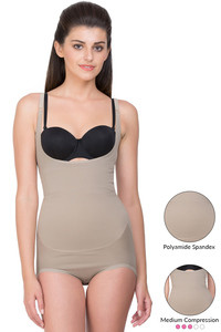 Zivame Thermoslim Butt Enhancing Medium Impact Bodysuit- Indian Skin