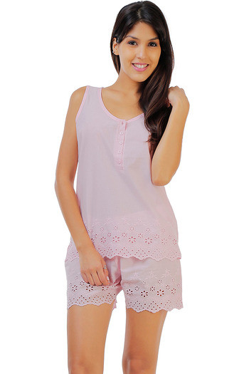 Buy Zivame Dreamwear Fine Cotton Top And Shorts Set With Hakoba Lace  Hem-Pink at Rs.998 online  79ea57e25