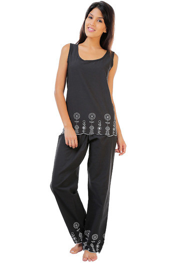 Buy Zivame Dreamwear Fine Cotton Sleeveless Top And Pyjama Set With  Embroidered Lace-Black at Rs.1397 online  ea0a10fd4