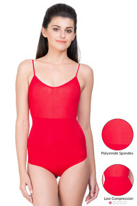 Zivame Smoothening Shaping Bodysuit with Tanktop Styling- Red