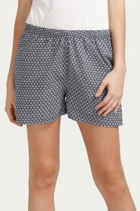 Zivame After Hours Cotton Floral Printed Sleep Shorts- Navy
