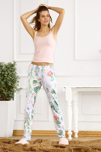 fd2cc241ce Buy Zivame After Hours Cotton Floral Printed Sleep Pyjama- White n Green at  Rs.473 online