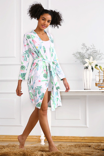 549260211d Buy Zivame After Hours Cotton Floral Printed Sleep Robe- White at Rs.627  online