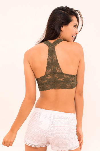 af2d08a854274 Buy Zivame Made to layer Scallop Lace Bralette- Olive at Rs.697 online