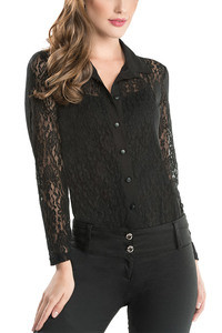 Zivame Floral Lace Shirt With Body Reducer Camisole Bodysuit-Black