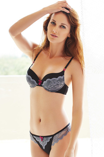 4585c2f0e1ad6 Buy Zivame Cuppa Contrast Moderate Pushup Bra-Black at Rs.697 online ...