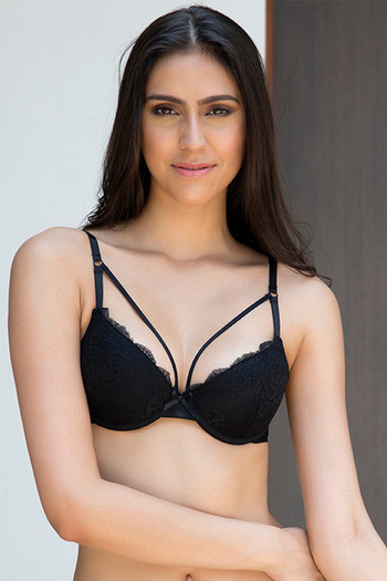 22443274fd Buy Zivame Lace Touch Demi Coverage Laser Wings Bra-Black at Rs.627 online