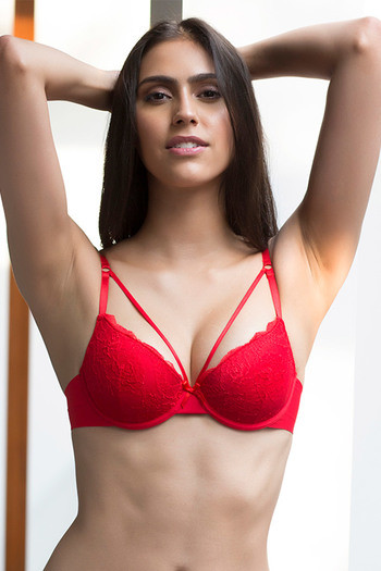 4dc146a28711a Buy Zivame Lace Touch Demi Coverage Laser Wings Bra-Red at Rs.627 online