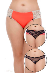 Zivame Ultra Soft Me and My Lace Bikini Brief Pack of 3 Assorted