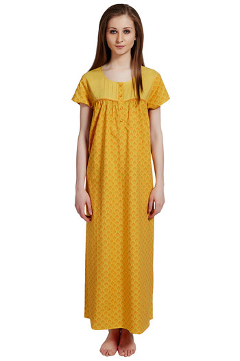 c027ef0b06 Buy Rosaline Pure Cotton Comfort Full Length Nighty - Yellow Floral Print  at Rs.769 online
