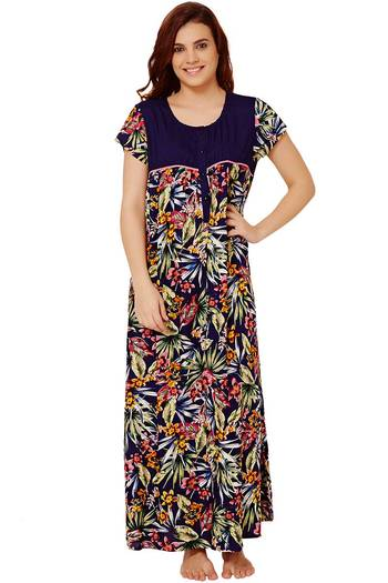 Buy Rosaline Floral Wrinkle Free Soft Rayon Nighty - Navy at Rs.769 online   4b7ac5997