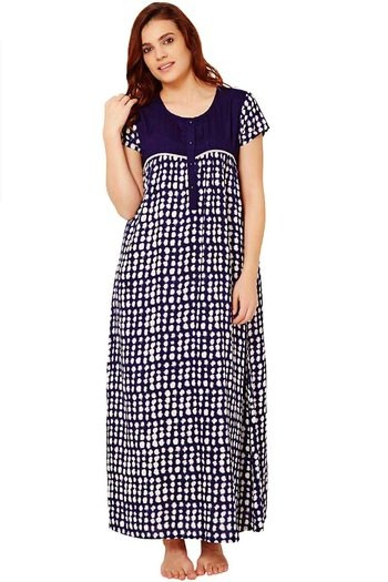 Buy Rosaline Dot Printed Wrinkle Free Soft Rayon Nighty- Navy at Rs.769  online  a8dded350