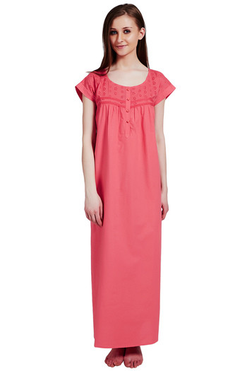 Buy Rosaline Pure Cotton Comfort Full Length Nighty - Coral at Rs.699 online   a483d82a8a