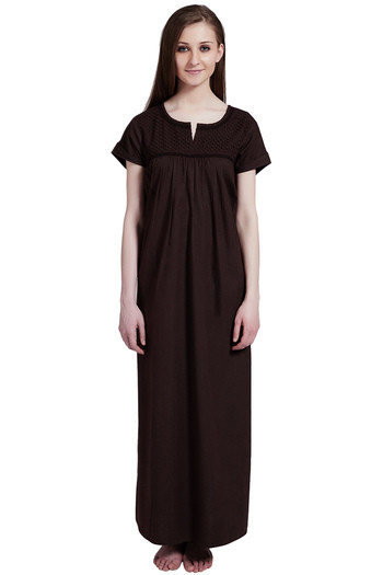 Buy Rosaline Pure Cotton Comfort Full Length Nighty - Chocolate Brown at Rs.699  online  2f3ba5bf3
