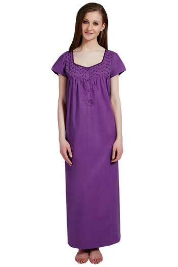 Buy Rosaline Pure Cotton Comfort Full Length Nighty- Purple at Rs.699  online  64b09e07f