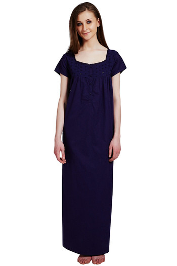 Buy Rosaline Pure Cotton Comfort Full Length Nighty- Navy at Rs.699 online   1973decdc