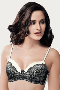 Amante Very Lightly Padded Wirefree Bra Black N White