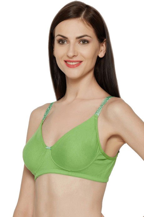 InnerSense Oraganic Cotton Double Layered Wire Free Full Coverage Cotton Lined T Shirt Bra Green