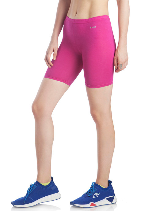 Lavos Bamboo Cotton High Rise Full Coverage Layering shorts Purple