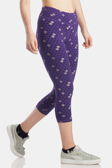 Lavos Bamboo With Organic Cotton Skin Fit Secret Sleek Pocket Printed Capri Purple