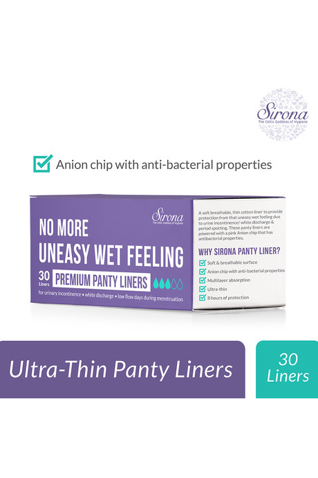 Sirona Ultra Thin Premium Panty Liners Regular Flow Pack of 30 White