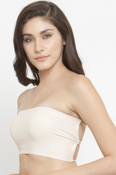 Pretty Cat Double Layered Wirefree With Removable Pad Strapless Bra Beige