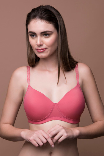 3384987eb Buy Zivame Glitter Straps Radiance Smooth Padded Wirefree T-Shirt Bra- Coral  at Rs.697 online
