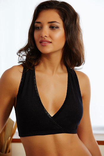 dd595f11b0 Buy Zivame Cross Over Plunge Neckline At-Home Lace Bra- Black at Rs.396  online