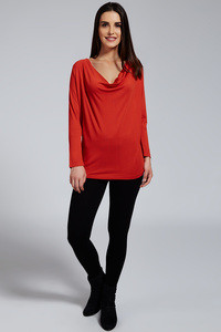 Zivame Aire Cowl Neck Gathered Waist Long Viscose Top - Red