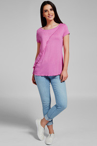 Zivame Aire Layered Wide Neck Viscose Top-Pink
