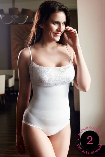 Buy Zivame Lace Touch Spaghetti Straps Shaping Bodysuit Camisole-White at  Rs.788 online  faddcce31