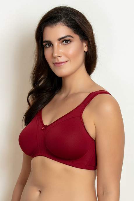 Zivame Double Layered Wirefree No Sag Bra Maroon