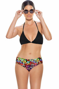 Zivame Aqua Halter Bikini With Floral Print Low Rise Bottom