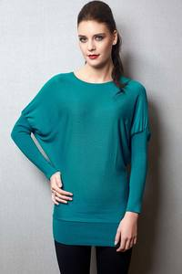 Zivame Ribbed Hem And Sleeve Relaxed Fit Viscose Top - Green
