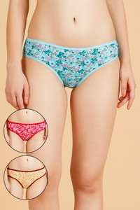 Rosaline Cotton Bikini Panty- Blue Yellow N Purple