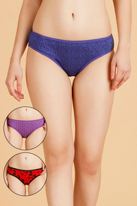 Rosaline Cotton Bikini Panty- Blue Red N Purple
