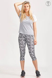 West Vogue Abstract Rose Skin Fit Pants Black N White