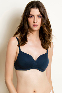 Rosaline Double Layered Wirefree Comfort Transparent Back Bra Dark Blue